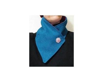Genuine harris tweed. Neckwarmer. Scarf. Turquoise. Rich blue. Tweed. Raspberry. Fleece lined. Brooch. Accessory. Gift.