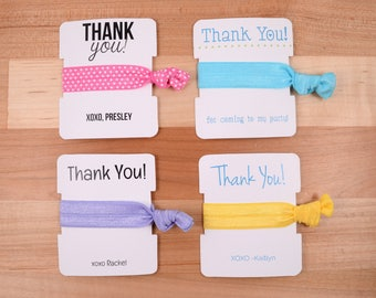 Personalized Thank You Die Cut Cards with Knotted Elastic Hair Ties