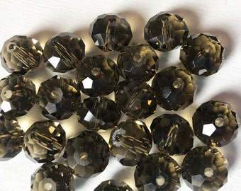 15x8mm Dark Smoky Czech Glass Faceted Rondelle Beads
