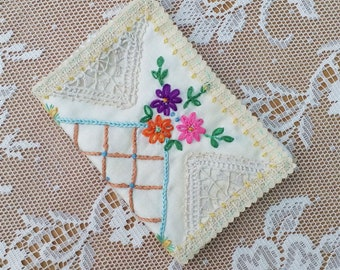 Needle book made from genuine vintage hand embroidered tablecloth