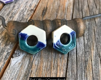 1 Pair of Ceramic Screw Nut Findings | DIY Ceramic Jewelry | Stoneware Hexagonal Dangle earring findings | DIY Pottery Jewelry Supply