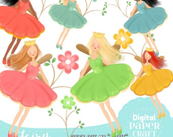 Fairy Clipart, Girl Clipart, Flower Clipart, Fantasy clipart, Outdoor clipart,Faerie clipart, Nature Clipart, Flower Clipart, Handrawn Fairy