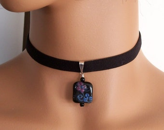 Black Ribbon Necklace with Black Floral Glass Bead Charm