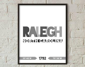 Raleigh Print, Raleigh Printable, Raleigh Poster, Raleigh Wall Art, Raleigh Coordinates, Raleigh Retro Minimalist (W0248)