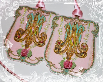 Marie Antoinette Monogram Die Cut Embellished and Glittered Tags Set of 6