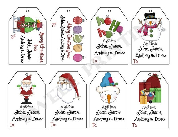 Printable Personalized Christmas III Gift Tag Set Santa