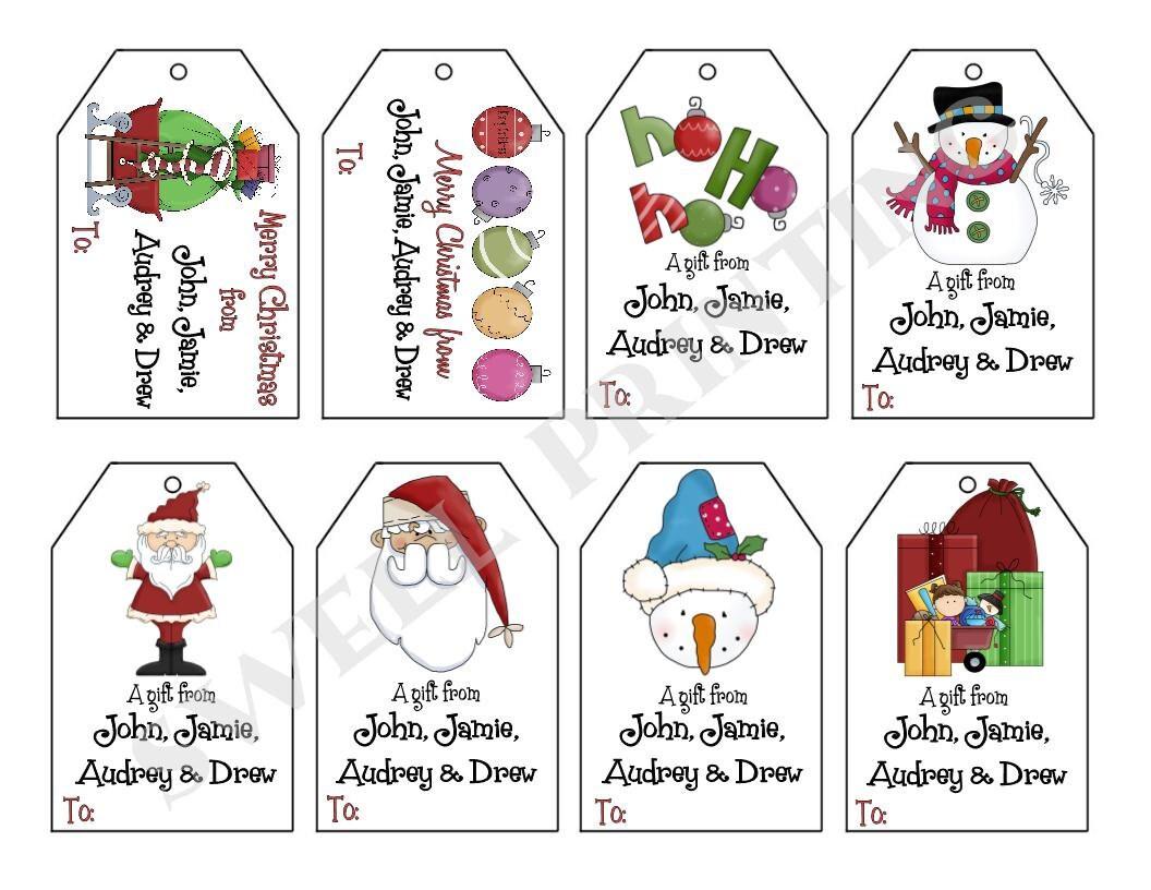 Printable personalized christmas iii gift tag set santa zoom negle Image collections