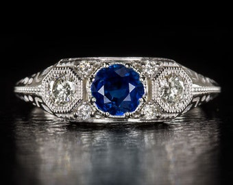 14K White Gold Round Handcrafted Vintage Antique 3 Stone Art Deco Inspired Blue Sapphire Diamond Ring 5.0 mm 4467-BS