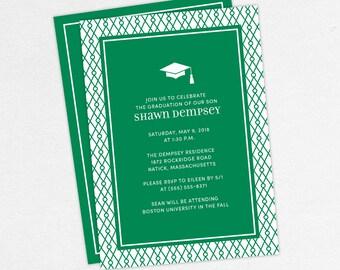 Graduation Invitation, Graduation Announcement, Printable Invite, Invitation PDF, DIY Graduation, Printed Invites, Modern, Boy, Shawn, Green