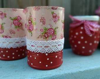 2 Shabby Chic Pink Red Floral Polka Dots Lace Kitschy Mary Engelbreit Inspired Whimsical Kitchen Home Table Decor Vases Utensil Holder Gift