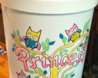 Hamper Owl Design Handpainted Personalized Teal Pink Yellow