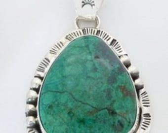 Chrysocolla Sterling Silver Pendant Navajo Native American Signed