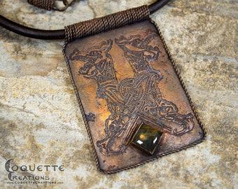 Labradorite Celtic Dragon Copper Necklace Pendant