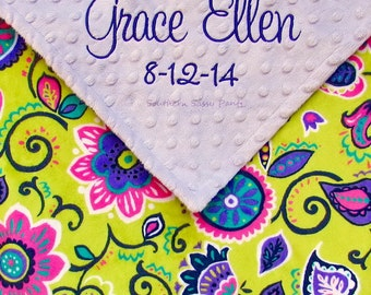 Personalized Baby Girl Blanket, Embroidered Minky Blanket for Baby Girls, Monogrammed Baby Gift, Custom Purple Lavender Baby Blanket, 28x30