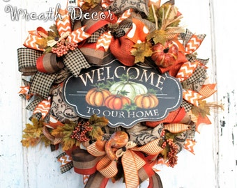 Fall Door Wreath - Autumn Wreath - Mesh Wreath - Fall Burlap Wreath - Welcome to Our Home Wreath - Orange Brown Black Fall Wreath