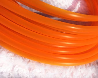 "UV Tangerine Orange 5/8"" Polypro Dance & Exercise Hula Hoop COLLAPSIBLE push button or minis - GLOWS in black light"