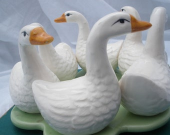 Ducks/geese ceramic garden table decoration- Get your ducks in a row- Farmhouse spring