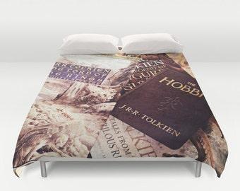 Tolkien Books Comforter or Duvet: Hobbit, Lord of the Rings, bedding, home decor, girl's room, boys room, library, fantasy