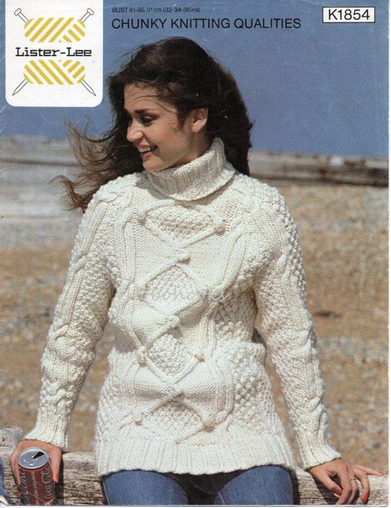 Womens Aran Sweater Knitting Pattern Pdf Chunky Ladies Polo