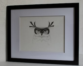 Original Graphite Drawing, Owl, Graphite Drawings, Owl Drawing
