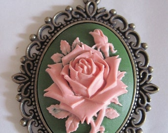 MADE IN FRANCE Retro vintage cameo brooch red rose rockabilly pin up gothic victorian penny dreadful halloween garden flower