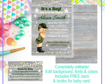 Templett Editable Army Baby Boy Shower Invitation, Printable Template, Instant Download w/ Free Back & Books for Baby Card