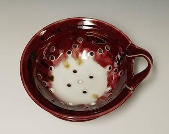 Handmade ceramic berry colander and drip saucer #1014