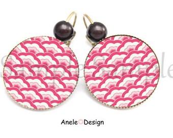 Earrings wave Japanese woman - Pink White Black Pearl