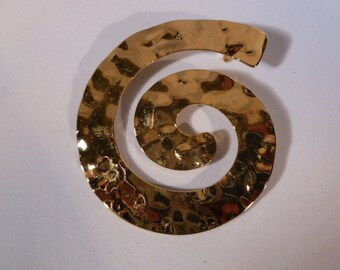 Large Gold Swirl Brooch