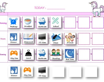 Boys/Girls Routine board, Visual Timetable , Kids Routine Chart , Educational Gift , Magnetic kids organization board