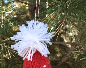 Red Miniature Beanie- Mini Beanie- Christmas Decor- Red|White-  Holiday, Doll, Pets