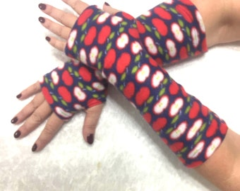 "Fingerless  fleece gloves""Paradise apples"""