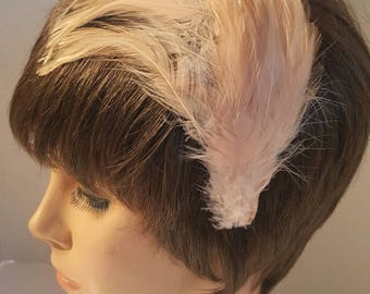Vintage 50's Feather Headband / Feather Headpiece / Hair Accessory / Feathered Hat / Showgirl / Wedding Headpiece