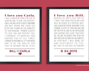 Custom wedding vows set of two prints personalized print personalized wedding vow art custom anniversary gift set of two prints vows junglespirit Images