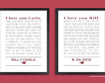 Custom wedding vows set of two prints personalized print personalized wedding vow art custom anniversary gift set of two prints vows song lyrics poem wedding gift custom colors junglespirit Images