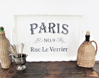 Paris Serving Tray, Antique White Stenciled Tray, French Themed Serving Tray