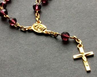 Purple Pocket Rosary. Crystal Rosary. Purple Rosary with Gold Tone Accents. Handmade Rosary.