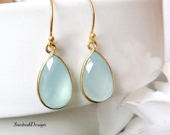 Gold Birthstone Earrings, Everyday Minimalist Earrings, Simple Stone Earrings, Aquamarine Earrings, Dainty Gemstone Earrings, Gold Filled,