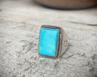 Turquoise Ring Size 7.5 Sterling Silver Turquoise Jewelry, Native American Ring, Turquoise Ring