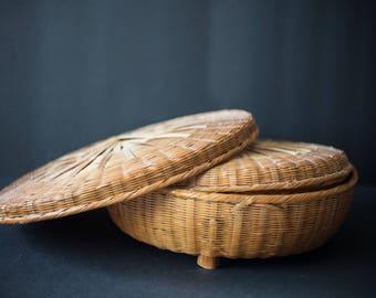 Vintage bamboo nesting basket 2x