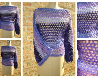 Crochet Pullover - Crochet Coverup -  Purple  Blend Sweater - Crochet Sweater
