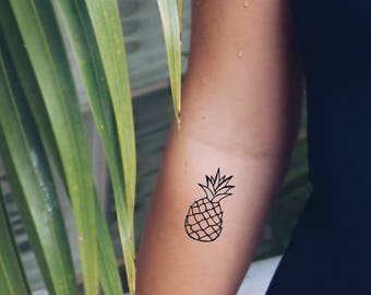 Hand-Drawn Pineapple Temporary Tattoo