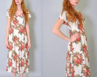 Vintage Floral Dress 80s Fitted Grunge Floral Rose Maxi Dress Full Skirt S M Autumn