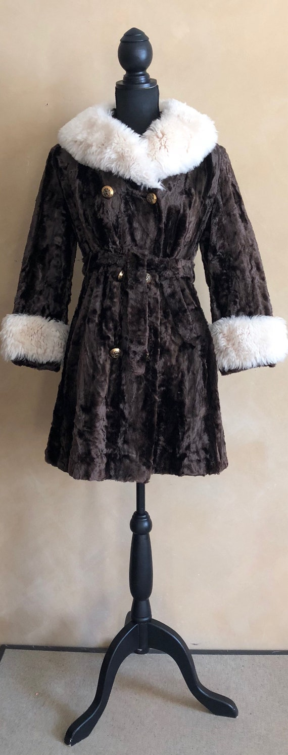 Vintage Faux Fur Coat - 60/70's - Brown with white trim - tie for waist - gold buttons