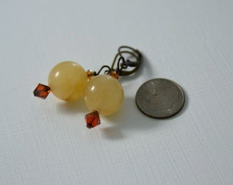 Natural Gemstone Golden Quartz Earrings with Deep Rust Swarovski Crystals from North Atlantic Art Studio in Maine