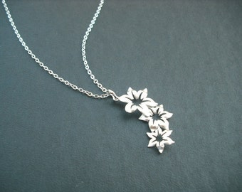 Sterling Silver Chain - triple star flower pendant necklace