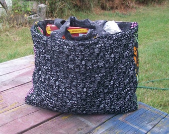 Lots of Skulls Tote Bag Reusable Grocery Bag Ready To ship
