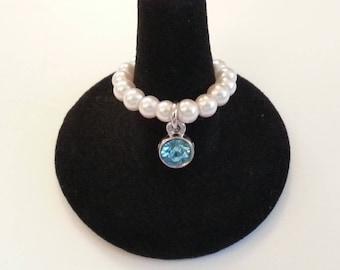Aquamarine Rhinestone Charm with White Pearls Stretch Ring 7 - 8