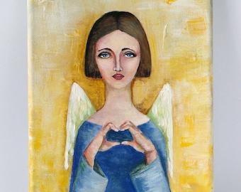 "Original acrylic painting on canvas, original painting ""I wish you love"""