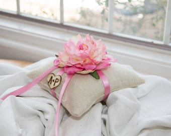 Pink Flower Ring Bearer with matching ribbon over 10 flowers to select from and 35 ribbon to select from including hand engraved initials